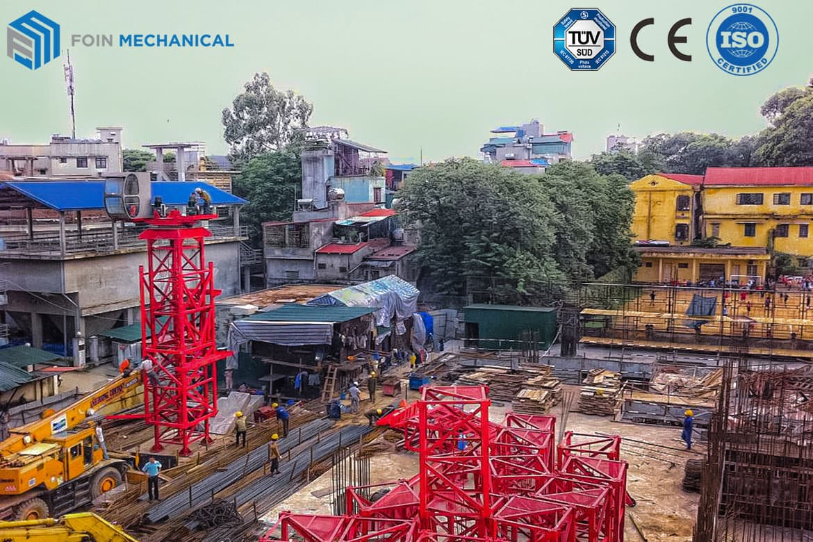Luffing tower crane service for narrow project