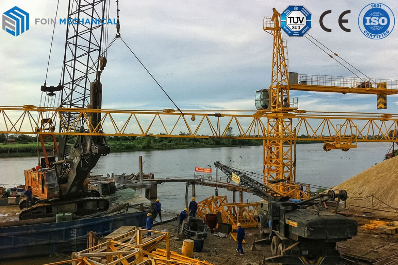 FOIN Topkit tower crane service for bridge IN VIETNAM
