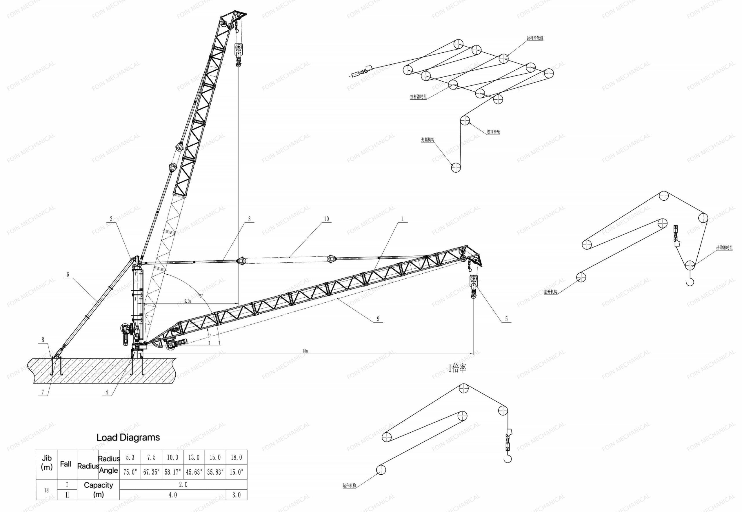 FOIN Derrick Crane/Jib Pole/Stiff Leg Derrick DC1830