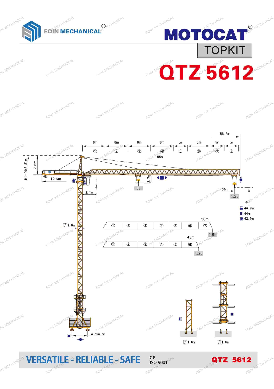FOIN Topkit/ Hammerhead Tower Crane TK5612-