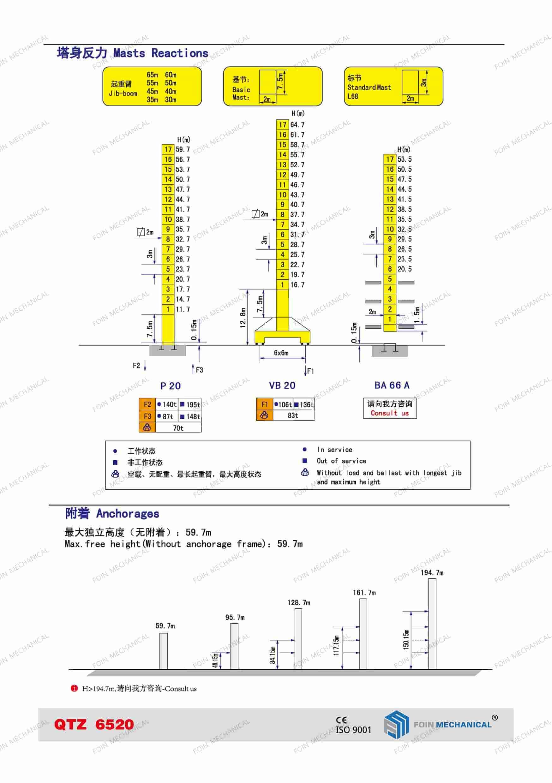 FOIN Topkit/ Hammerhead Tower Crane TK6520-2