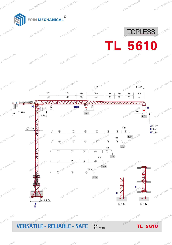FOIN Topless/ Flat Top Tower Crane-TL5610