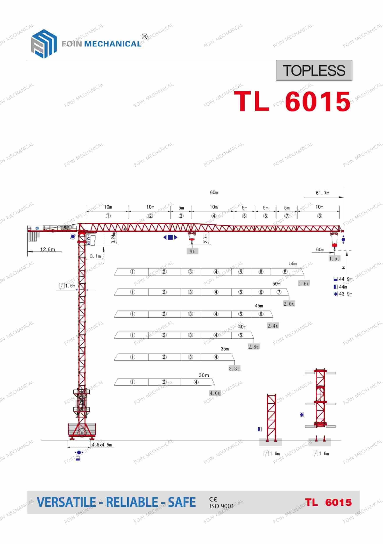 FOIN Topless/ Flat Top Tower Crane TL6015-1