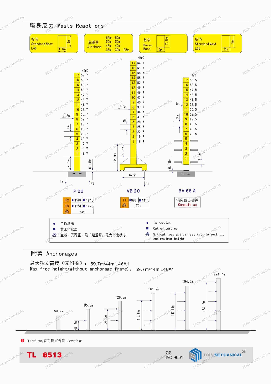 FOIN Topless/ Flat Top Tower Crane TL6513-1