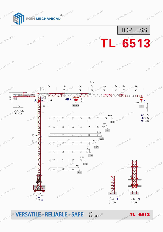 FOIN Topless/ Flat Top Tower Crane TL6513