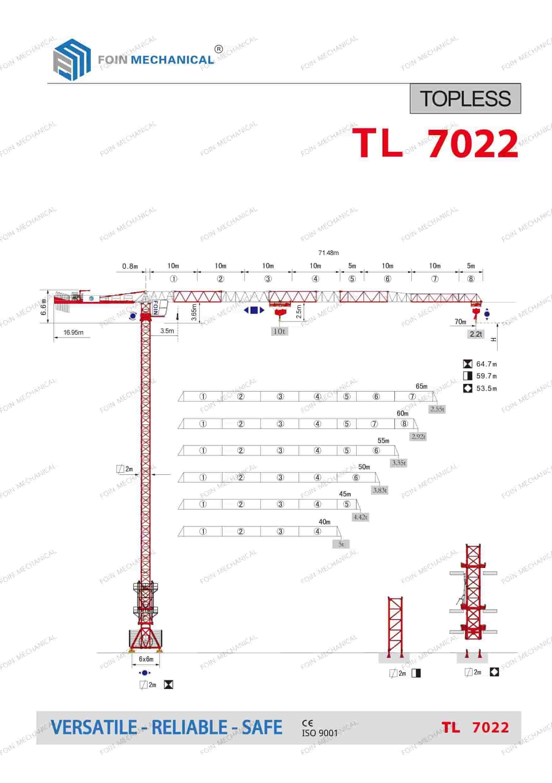 FOIN Topless/ Flat Top Tower Crane TL7022